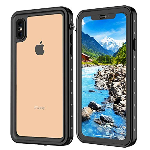 iPhone Xs Max case, IP68 Waterproof case Full-Body Rugged Clear Bumper Case with Built-in Screen Protector for iPhone Xs Max Case 6.5 Inch 2018 Release