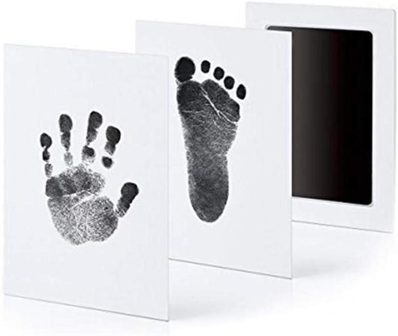 Hamkaw - Marco con impresión de niño en Arcilla Kit portafotos con Huella de la Mano y del pie del bebé Especial Regalo para Celebrar el Nacimiento de un niño o para bautizos