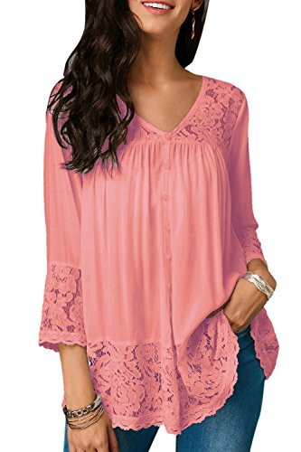 T Au Lace Cet Les t en Manche 4 3 Dcollet V Col Rose Shirt Chemises DE Yaq4qT78