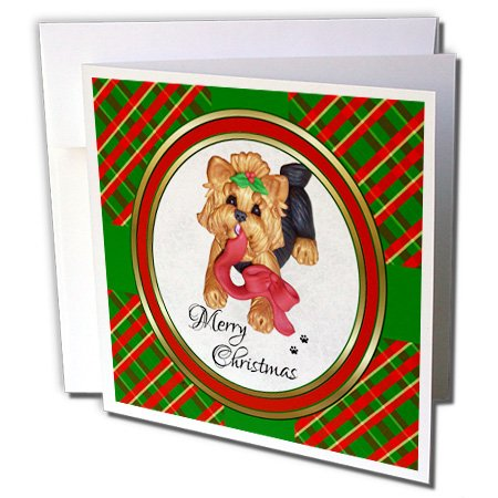 Merry Christmas Red Ribbon Yorkie Yorkshire Terrier - Greeting Cards, 6 x 6 inches, set of 12 (gc_185552_2)