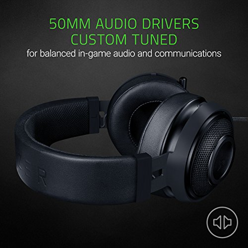 Razer Kraken Pro V2: Lightweight Aluminum Headband - Retractable Mic - In-Line Remote - Gaming Headset Works with PC, PS4, Xbox One, Switch, & Mobile Devices - Black
