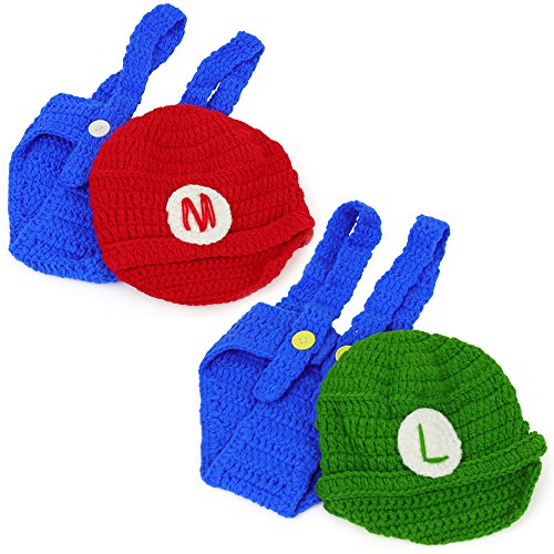 Armycrew Mario and Luigi Infant 2 Piece Outfit Crochet Hat and Pants - MARIOLUIGI 2PK -