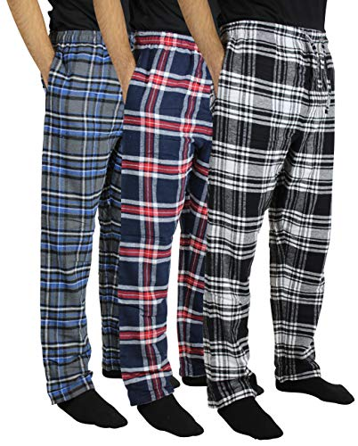 New 3 Pack:Men's Cotton Super Soft Lightweight Flannel Buffalo Plaid Pajama Pyjamas Pants/Lounge PJS Bottoms Sleepwear,ST 5-XXL (Shirt Pajamas Pants)