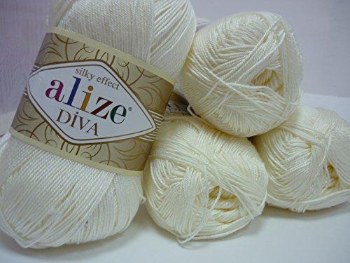 100% Microfiber Acrylic Yarn Alize Diva Silk Effect Thread Crochet Knitting Art Lot of 4 skeins 400gr 1532yds Color 62 Cream Silk Crochet