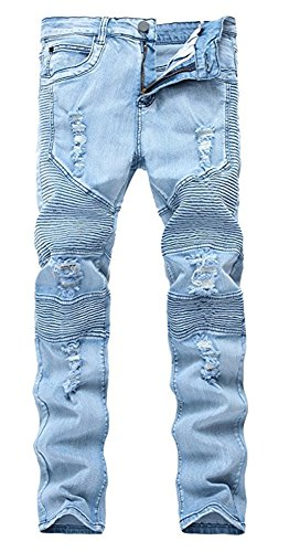 (Qazel Vorrlon Men's Biker Moto Distressed Destroyed Fashion Skinny Fit Jeans W32 1023)
