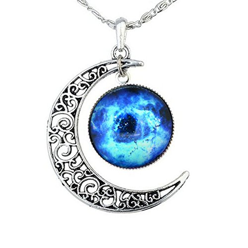 FANSING Costume Jewelry Valentine's Day Gift Galaxy Necklace Crescent Star Galactic Cosmic Moon Charm - Cheap Mother's Gifts Shipping Free Day