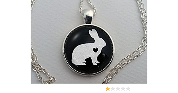 chain w rabbit charm and LILY charm EASTER Girl hugging RABBIT glass dome pendant /& silver t