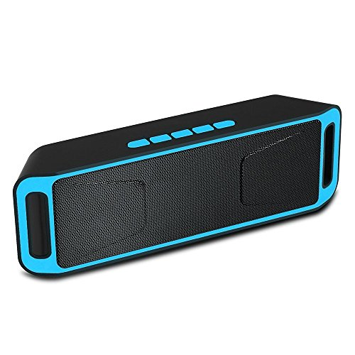 Portable Bass Dual Stereo Speaker Wireless Bluetooth Speaker Support Handsfree FM Radio AUX USB TF Card Mic for IOS Android Phone (Blue&Black) (Bluetooth Speakers With Fm Radio)