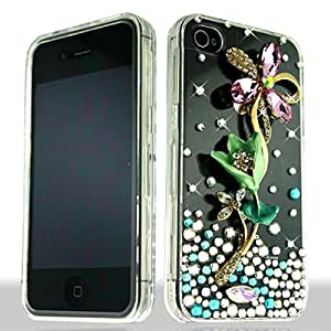 3D Clear Pink Flower Bling Gem Jeweled Crystal Cover Case for Apple iPhone 4 4S