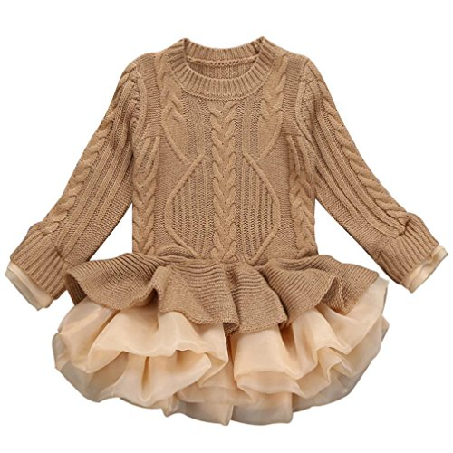 Sharemen Baby Girl Long Sleeve Kids Casual School Dress for Children Knitted Sweater (6-7Years, Brown)