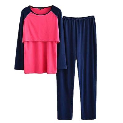 2 Piezas Pijama Premama Lactancia Otoño Invierno Ropa Maternidad Hospital Pijama Embarazada Manga Larga Algodon Top y Pantalones Conjuntos M-XL: Ropa y accesorios
