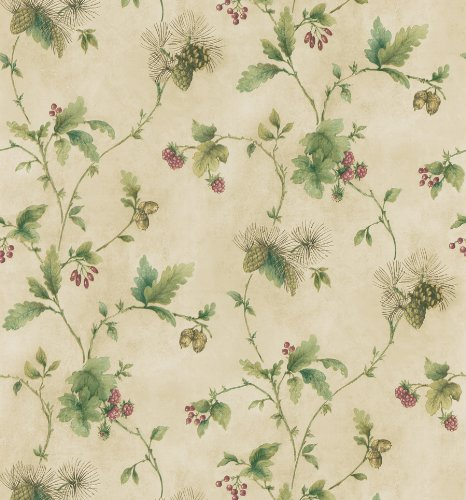 Berries Wallpaper (Brewster 145-62639 Northwoods Lodge Lewiston Beige Pinecone And Berry Trail Wallpaper)