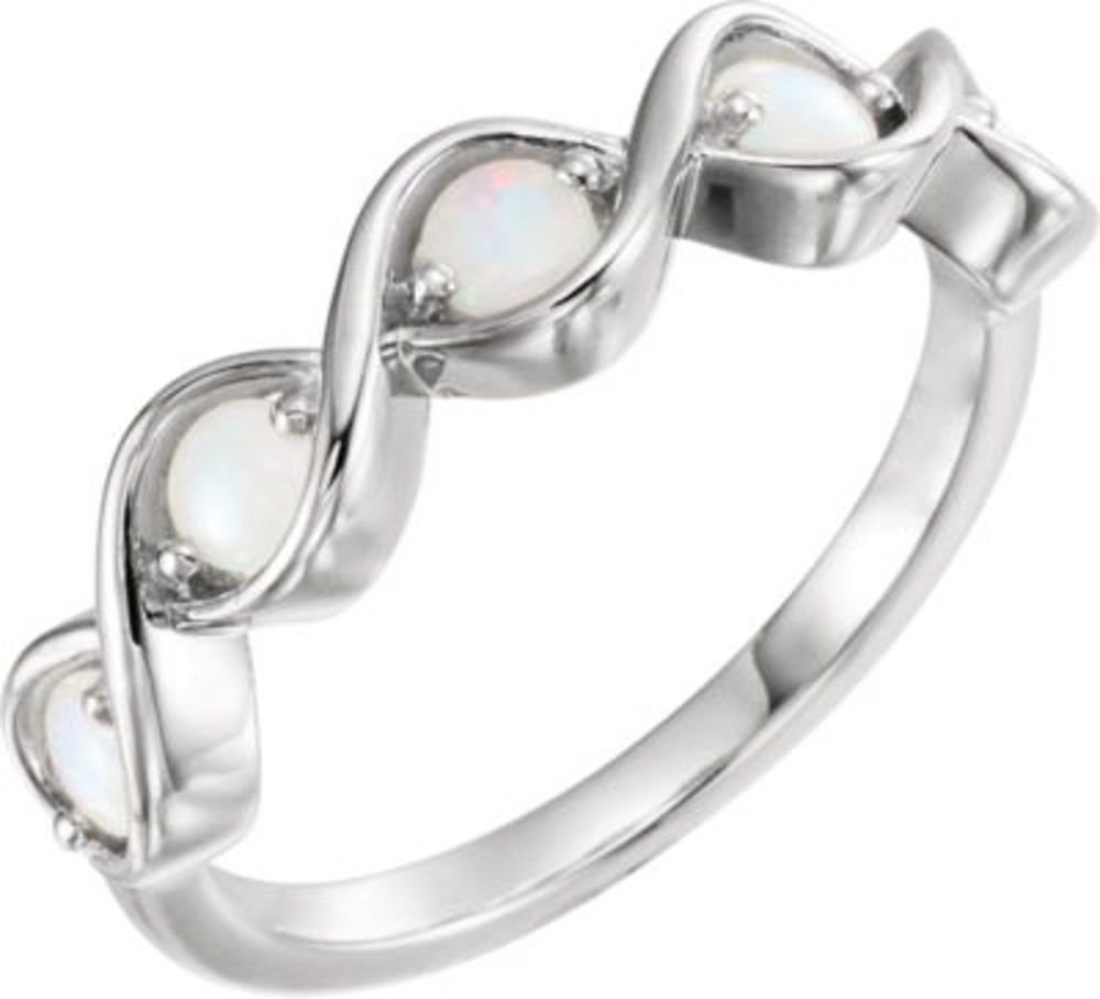 Sterling Silver Opal Stackable Ring - Size 7