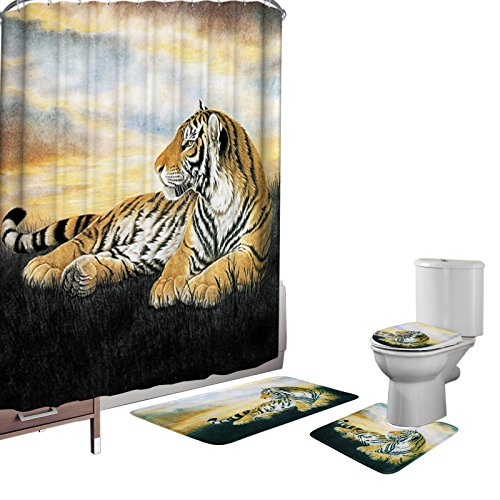 (Amagical 16 Pieces Shower Curtain Set Bathroom Mats Set Non-Slip Rug Carpet Toilet Cover Shower Curtain with 12 Hooks Yellow Tiger Print)
