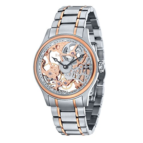 Thomas Earnshaw Men's 'BAUER MACHANICAL SKELETON' Mechanical Hand Wind Stainless Steel Dress Watch, Color:Two Tone (Model: ES-8049-33)