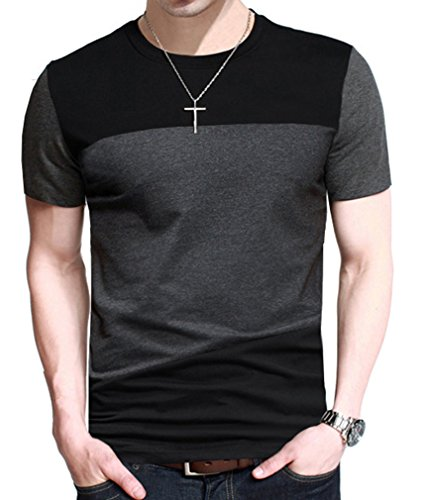 FRTCV Mens Short Sleeve T-Shirt Casual Tops Tee Classic Fit Basic Shirts D6043 Black Asian XL/US XS