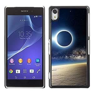 // PHONE CASE GIFT // Duro Estuche protector PC Cáscara Plástico Carcasa Funda Hard Protective Case for Sony Xperia Z2 / Solar Eclipse de Luna /