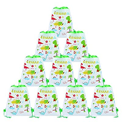 CIEOVO 12 Pack Dinosaur Party Bags,Drawstring Party Gift Bags,Dinosaur Party Supplies Candy Bags,Baby Shower Treat Bags,Party Goodie Bags for Birthday: Toys & Games