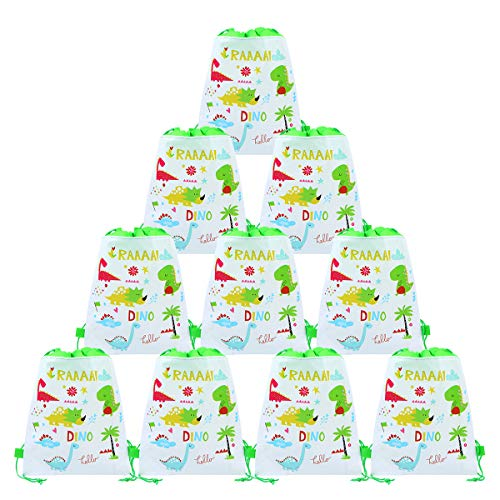 CIEOVO 12 Pack Dinosaur Party Bags,Drawstring Party Gift Bags,Dinosaur Party Supplies Candy Bags,Baby Shower Treat Bags,Party Goodie Bags for Birthday ()