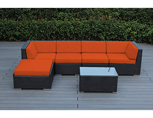 Ohana 6 Piece Outdoor Wicker Patio Furniture Sectional Conversation Set  With Weather Resistant Cushions, Sunbrella Tuscan (PN0609SOR)