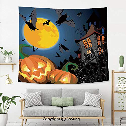 SoSung Halloween Decorations Wall Tapestry,Gothic Halloween Haunted House Party Theme Decor Trick or Treat for Kids,Bedroom Living Room Dorm Wall Hanging,92X70 Inches,Multi -