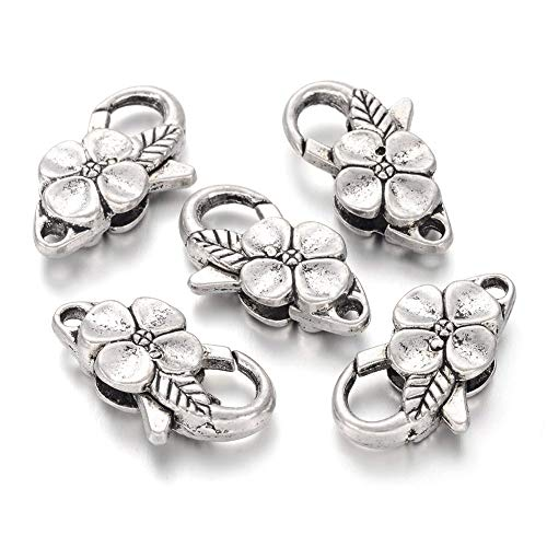 Necklace Flowers Clasp Metal (Kissitty 20-Piece Antique Silver Large Flower Lobster Claw Clasps 1x0.55