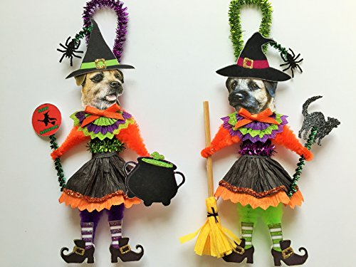 Border Terrier HALLOWEEN WITCH ORNAMENTS Vintage Style Dog Chenille Ornaments Set of 2]()