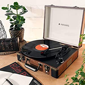 Navaris Briefcase Record Player – Vinyl Turntable Retro Portable Suitcase Deck with 2 Built-In Speakers & Vinyl to MP3 Conversion – Brown / Black
