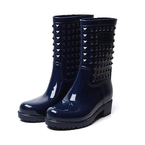 Gummistiefel Damen Halbhoch Herbst Stiefel Flach Wasserdicht Regenstiefel Frauen rutschfest Slip On Blockabsatz 3.5cm Schwarz Blau 36 43 EU