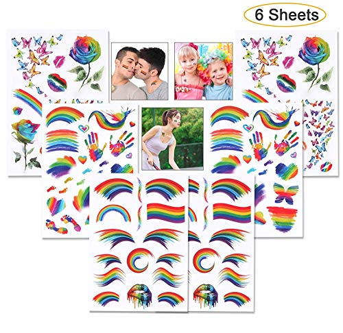 Rainbow Temporary Tattoos, Kissbuty 6 Sheets Waterproof Rainbow Flag Tattoo Stickers Pride Tattoos for Pride Equality Parades and Celebrations -