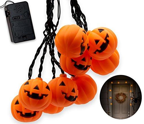Top Race Halloween Pumpkin String Lights, 10 Big 3 Inch Battery Powered jack o lantern Pumpkin Blinking Lights with Motion Sensor and Halloween Music, Halloween Decorations.