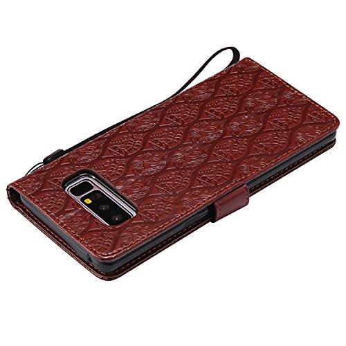 PU Leder Wallet Hülle für Samsung Galaxy Note 8, Aearl Retro 3D Geprägte Rattan Blume Tasche Brieftasche Schutzhülle Schutz Etui Schale Handyhülle mit Standfunktion Karteneinschub und Magnetverschluss Braun