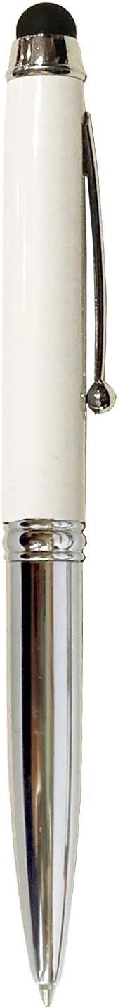 axelens Bolígrafo Touch 3 en 1 de Metal para Smartphone con Linterna LEDIncluida Escritura Color Negro - Blanco - Estuche Porta Lápiz Incluido
