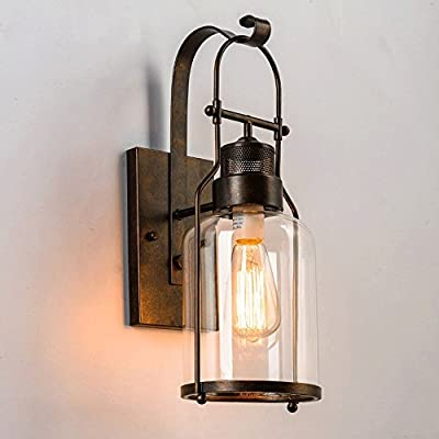 "Vintage Wall Sconce, MKLOT Ecopower Industrial Country Style 5.90"" Wide Shape Wall Sconces Lamp Lighting Fixture Lights with Cylinder glass shade use E26 Bulb in Black 1-Light"