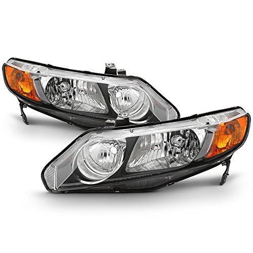 Honda Civic 4dr Sedan Headlight - For 2006-11 Honda Civic 4DRs Amber Corner Headlights Assembly Black Housing Clear Lens Full Set