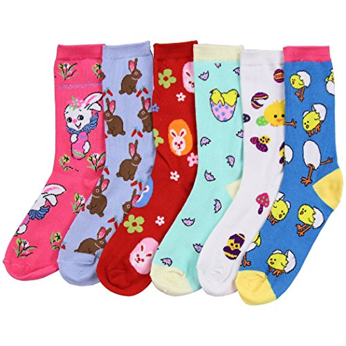 Womens Fun and Colorful Crew Sock 6 Packs (Easter 2), One Size