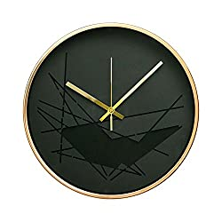 Modern Art District In Craft Design 12 Non-Ticking Sweep Silent Wall Clock with Bronze Finish Frame (Black Abstract)