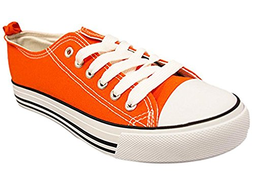 Orange Purple Sneakers - Shop Pretty Girl Women's Sneakers Casual Canvas Shoes Solid Colors Low Top Lace up Flat Fashion (10, Neon Orange)