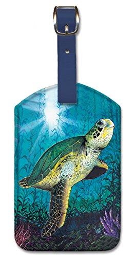 Leatherette Vintage Art Luggage Tag - Hawaiian Green Sea Turtle by Scott Westmoreland Turtle Tag