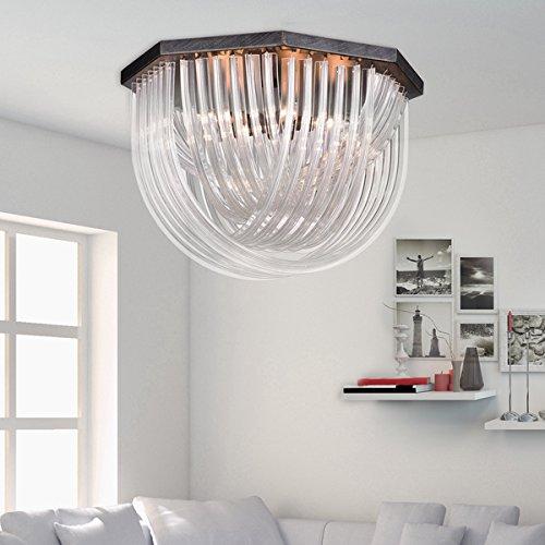 Samanta Antique Black Overlapping Curved Glass 6-light Flush Mount ()
