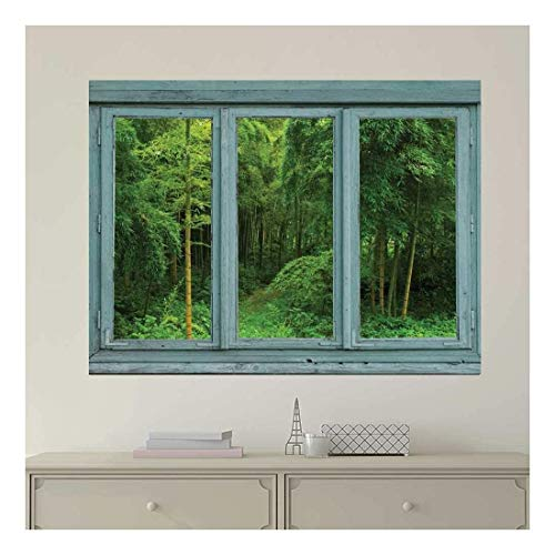 Vintage Teal Window Looking Out Into a Green Jungle with a Path Wall Mural