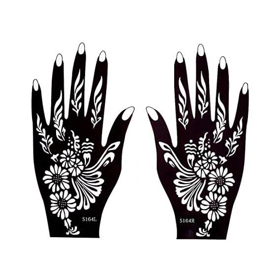 Ivana's Set of 2 Pieces Henna Tattoo Stencil Set for Women Girls Hand Finger Body Paint Temporary Tattoo - Code - 67