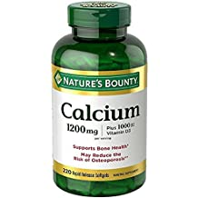 Nature's Bounty Calcium Carbonate Pills and Vitamin D3 Mineral Supplement, Supports Bone Strength and Health, 1200mg, 220 Softgels