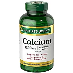Nature's Bounty Absorbable Calcium, 1200mg, Plus 1000IU Vitamin D3, 220 Softgels, Mineral Supplement to Support Bone Health(1)