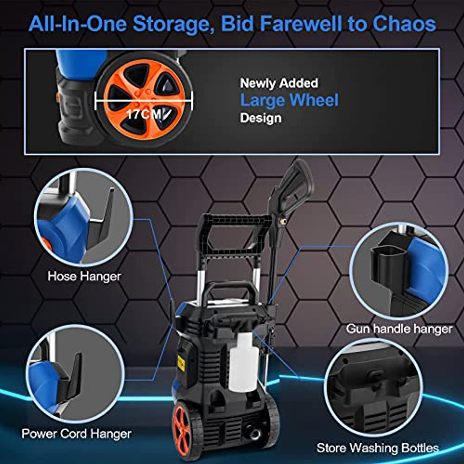 Electric Pressure Washer ,3800PSI Power Washer Electric 2.8GPM High Pressure Washer 2000W Mrliance Pressure Washer with 4 Nozzles for Cleaning Homes, Cars, Driveways, Fences, Garden(Blue)
