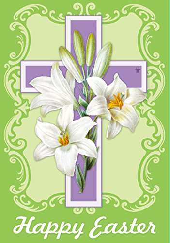 Morigins - Easter White Lilies Double-Sided Decorative Cross Religious House Flag - Easter Flag Cross