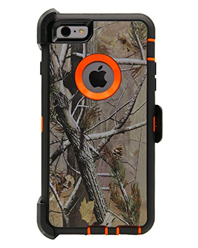 WallSkiN Turtle Series Cases for iPhone 6 / iPhone 6S (Only) Full Body Protection with Kickstand & Holster - Pinus (Tree Bough/Orange)