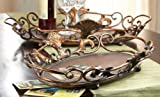 Set of 2 Decorative Rustic Flourish Design Serving Trays