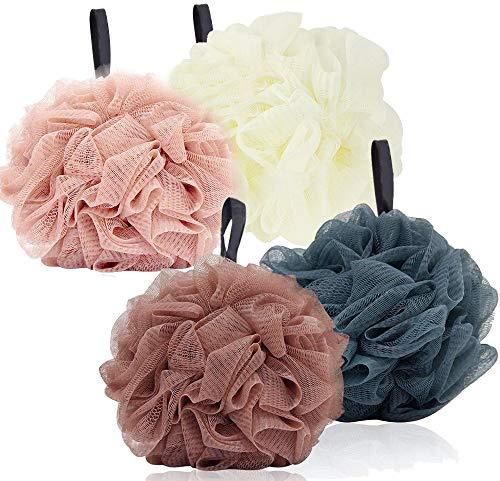 Shower Loofah Bath Sponge Pouf, Large Body Shower Mesh Bathing Shower Supplies 4Pack