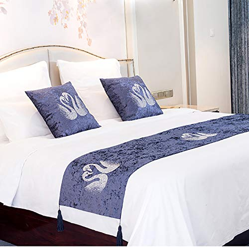 Arcangues Bed Runner with Cushion Cover Sets for Queen Size Bed,Bed Scarf 18''x71'',with 2 Cushion Cover 18''x18'',Velveteen High-end Swan Luxury Home Hotel Decor Blue (Cushion And Sets Bed Runners)